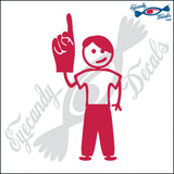 "STICK FAMILY TEEN BOY HOLDING UP FOAM FINGER   4.5"" DECAL"