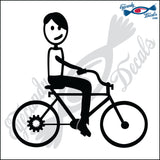 "STICK FAMILY TEEN BOY ON BIKE   4.5"" DECAL"