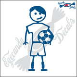 "STICK FAMILY TEEN BOY SOCCER PLAYER   4.5"" DECAL"