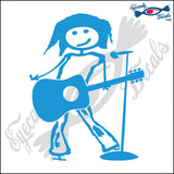 "STICK FAMILY TEEN GIRL SINGING WITH GUITAR   4.5"" DECAL"