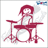 "STICK FAMILY TEEN GIRL DRUMMER   4.5"" DECAL"