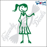 "STICK FAMILY TEEN GIRL WEARING DRESS   4.5"" DECAL"
