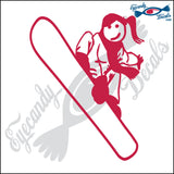 "STICK FAMILY TEEN GIRL SNOWBOARDING   4.5"" DECAL"