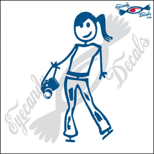 "STICK FAMILY TEEN GIRL HOLDING CAMERA   4.5"" DECAL"