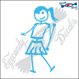 "STICK FAMILY TEEN GIRL TWIRLING BATTON   4.5"" DECAL"