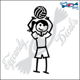 "STICK FAMILY TEEN GIRL PLAYING VOLLEYBALL - SETTER   4.5"" DECAL"