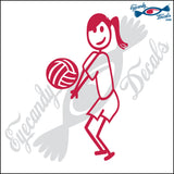 "STICK FAMILY TEEN GIRL PLAYING VOLLEYBALL - LIBERO   4.5"" DECAL"