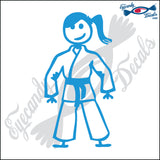 "STICK FAMILY TEEN GIRL IN KARATE UNIFORM   4.5"" DECAL"