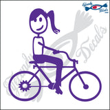 "STICK FAMILY TEEN GIRL ON BIKE   4.5"" DECAL"