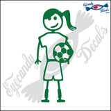 "STICK FAMILY TEEN GIRL SOCCER PLAYER   4.5"" DECAL"