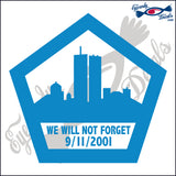 "911 WE WILL NOT FORGET PENTAGON 5""  DECAL"