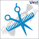 "SCISSORS AND COMB 6""  DECAL"
