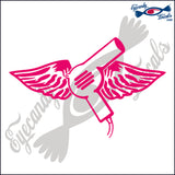 "HAIR DRYER WITH WINGS 6""  DECAL"