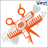 "SCISSORS AND COMB AND HAIR DRYER 6""  DECAL"