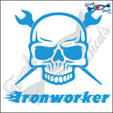 "IRON WORKER SKULL WITH WORDS 6"" DECAL"