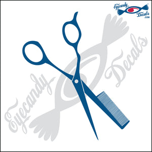 SHEARS WITH COMB ATTACHED 6  INCH  DECAL
