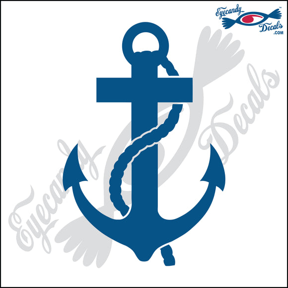 NAVY ANCHOR WITH CROSS 6  INCH  DECAL