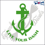 NAVY ANCHOR WITH CROSS WITH HEART AND LIVE YOUR DASH 6  INCH  DECAL