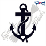 NAVY ANCHOR WITH CROSS WITH HEART 6  INCH  DECAL