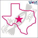 TEXAS STATE OUTLINE with STAR 6 INCH  DECAL