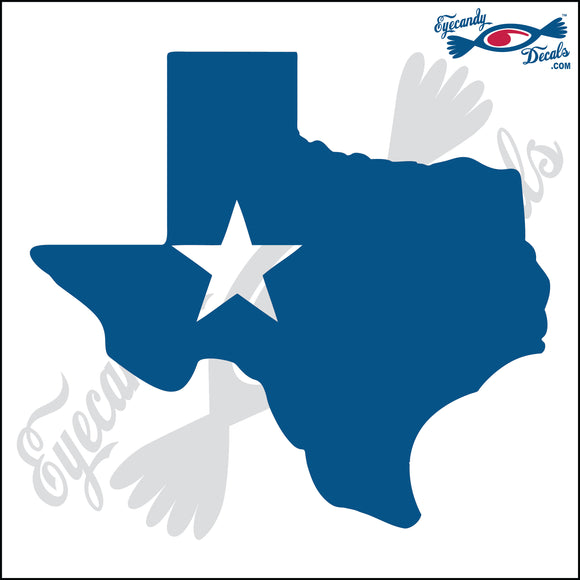 TEXAS SHAPE with STAR 6 INCH  DECAL