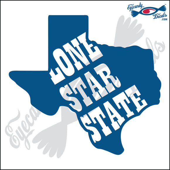 TEXAS SHAPE with LONE STAR STATE 6 INCH  DECAL