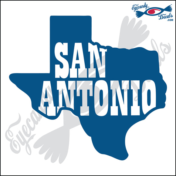 TEXAS SHAPE with SAN ANTONIO 6 INCH  DECAL