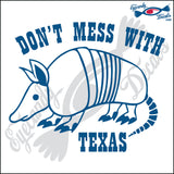 ARMADILLO with DON'T MESS WITH TEXAS 6 INCH  DECAL