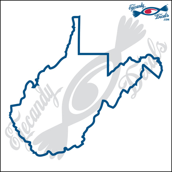 WEST VIRGINIA STATE OUTLINE 6 INCH  DECAL
