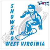 SNOW BOARDING with SNOWSHOE WEST VIRGINIA 6 INCH  DECAL