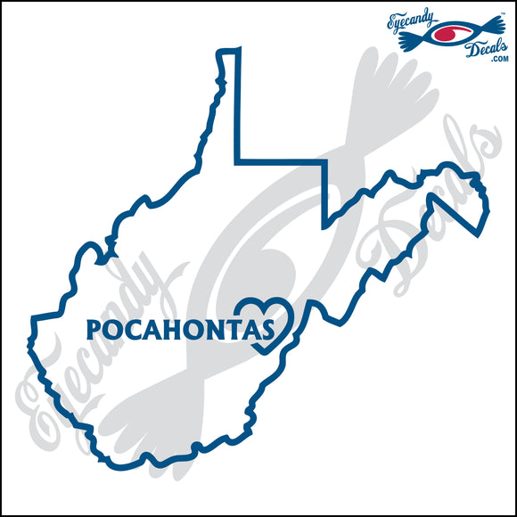 WEST VIRGINIA with POCAHONTAS 6 INCH  DECAL