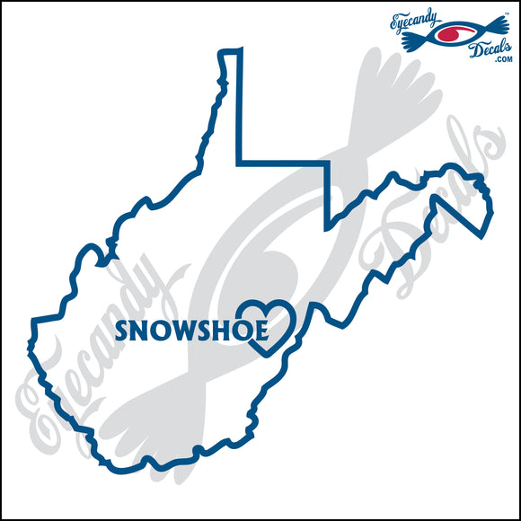 WEST VIRGINIA with SNOWSHOE HEART 6 INCH  DECAL