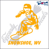 SNOW BOARDING with SNOWSHOE WV WEST VIRGINIA 6 INCH  DECAL