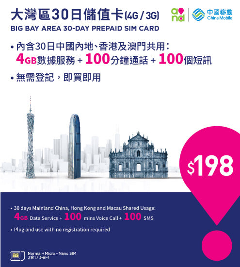 4G Big Bay Area Prepaid SIM (with Hong Kong number)