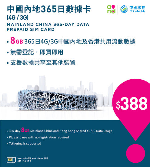 4G/3G Mainland China 365-day Data Prepaid SIM Card