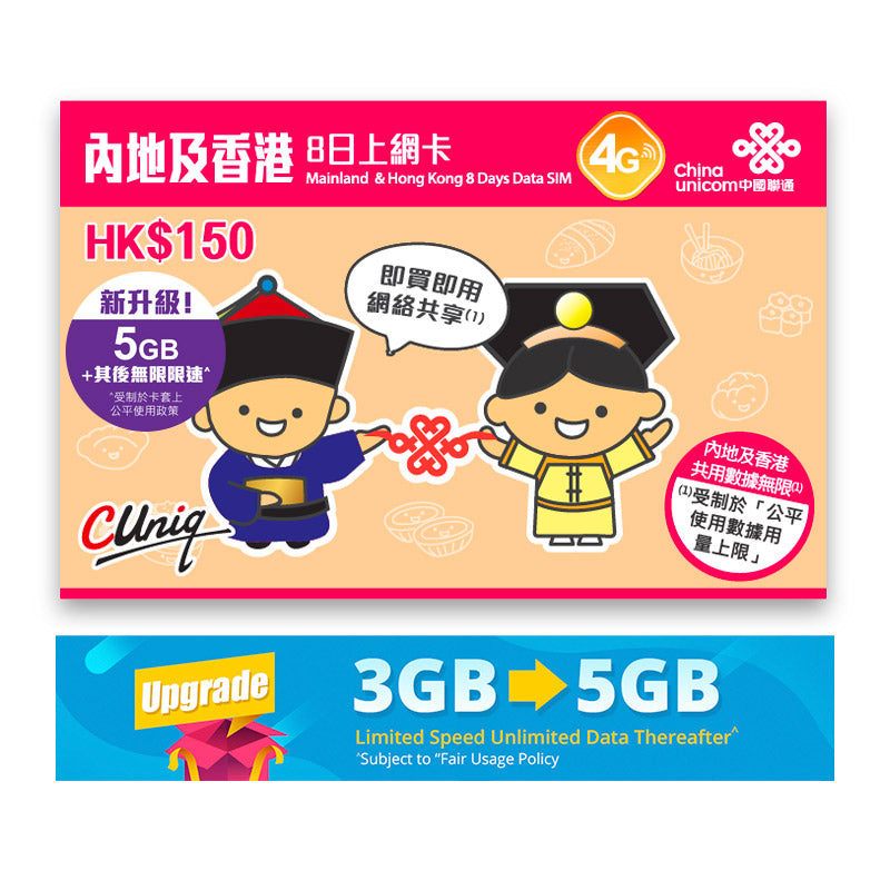 China & Hong Kong 8 Days Unlimited Data SIM