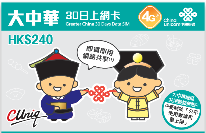 Greater China 30/15 Days Unlimited Data SIM