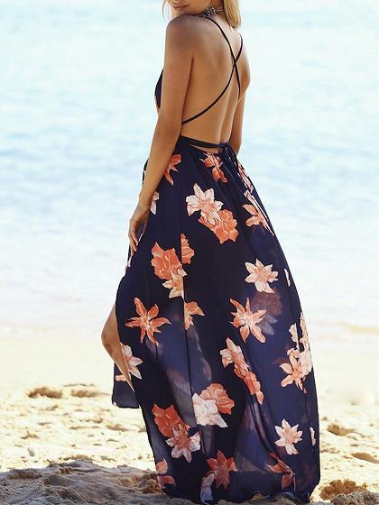 Blue Chiffon V-neck Leaf Print Open Back Chic Women Cami Maxi Dress