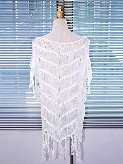 White Cotton Blend Tassel Trim Chic Women Blouse