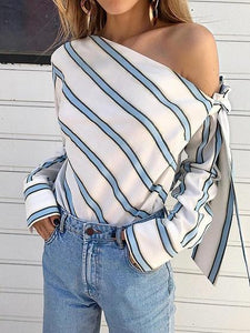 Blue Stripe Asymmetric Neck Long Sleeve Chic Women Blouse