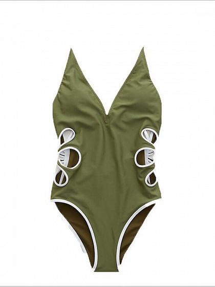 Green One-piece Swimsuit Plunge Cut Out Detail Open Back