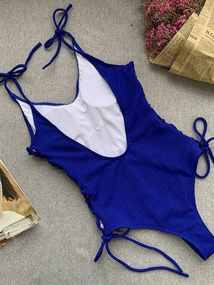 Blue V-neck Lace Up Side Open Back One-Piece Swimsuit