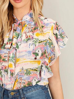 Polychrome Print Detail Tie Front Ruffle Sleeve Blouse