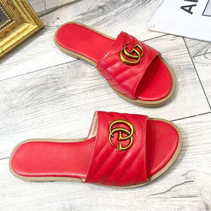 Fashion Metal Letter Solid Color Flat Slippers Sandals - Shop Shiningbabe - Womens Fashion Online Shopping Offering Huge Discounts on Shoes - Heels, Sandals, Boots, Slippers; Clothing - Tops, Dresses, Jumpsuits, and More.
