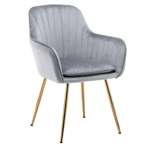 Chaise Scandinave </br> Velours Gris Accoudoirs TON