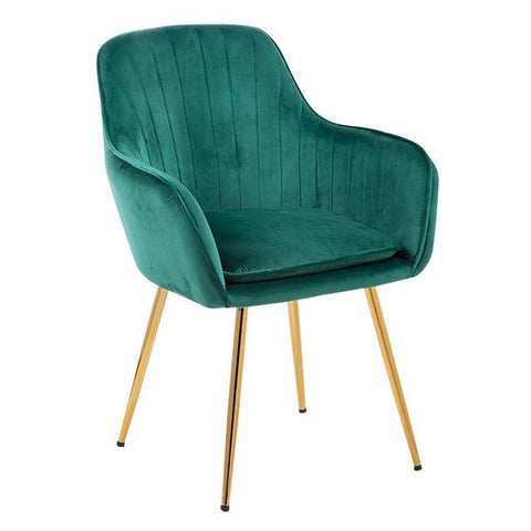 Chaise Scandinave </br> Velours Vert Canard Accoudoirs TON