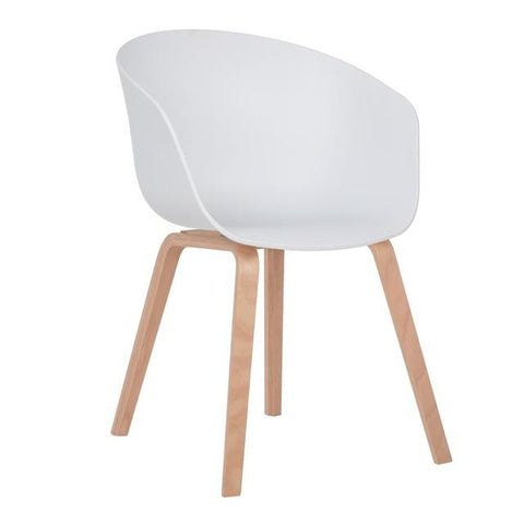 Chaise Scandinave </br> Blanche avec Accoudoirs WELLING