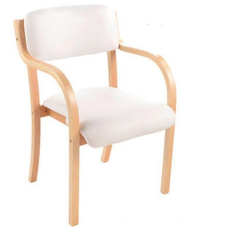 Chaise Scandinave </br> Cuir Blanc Vintage