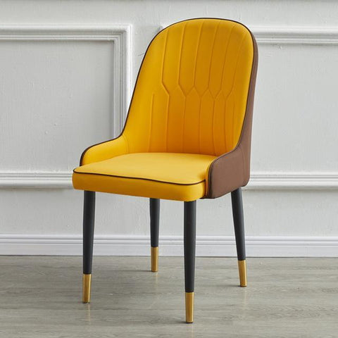 Chaise Scandinave </br> Cuir Jaune Moderne