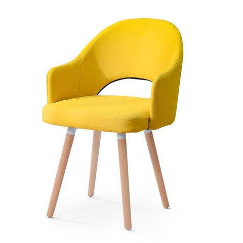 Chaise Scandinave </br> Cuir Jaune HOLLOW